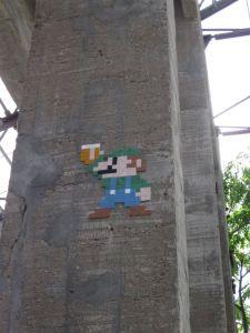 Invader's Luigi mosaic, in Nantes, France