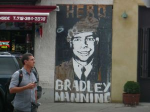 """Political poster in support of 'wikileaker' Bradley Manning, Williamsburg, Brooklyn. Reads, """"Hero Bradley Manning"""", and is roughly painted on wood panel"""